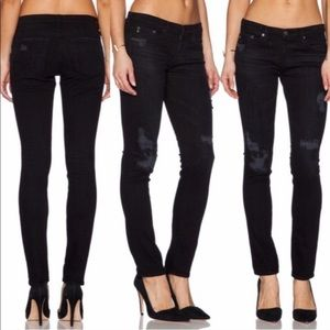 AG The Stilt Black Cigarette Leg Skinny Jeans